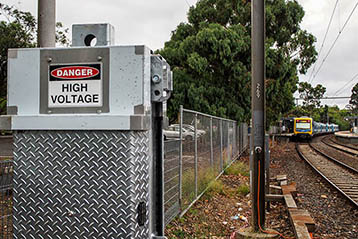 AUSTRALIA, MELBOURNE - January 15, 2015: Danger High Voltage power electric cables running from transformer