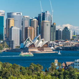 Sydney Australia - July 23 2016: Beautiful view of Sydney Central Business District Sydney Harbour and Sydney Opera House on sunny day with yachts and ferries